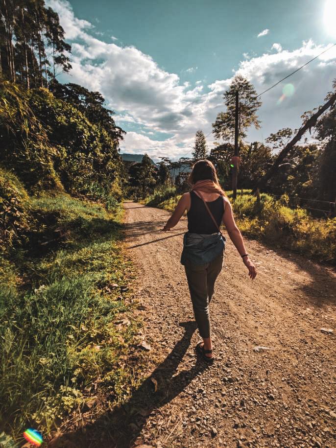 Walking into town in Jardin, Colombia.