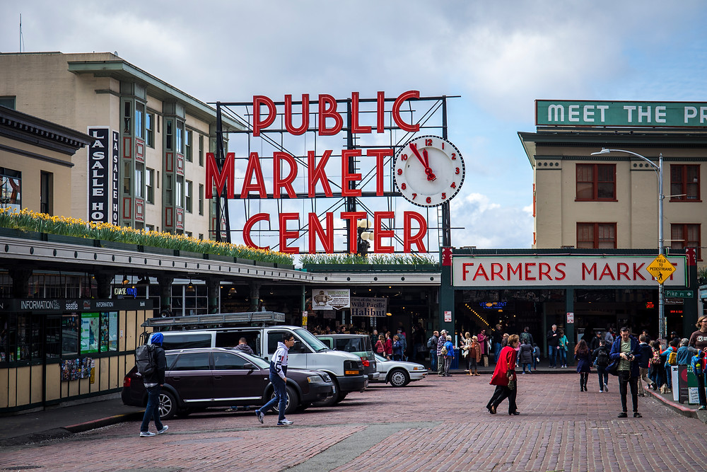 Pike Place Market in Seattle, Washington during our road trip to the PNW.