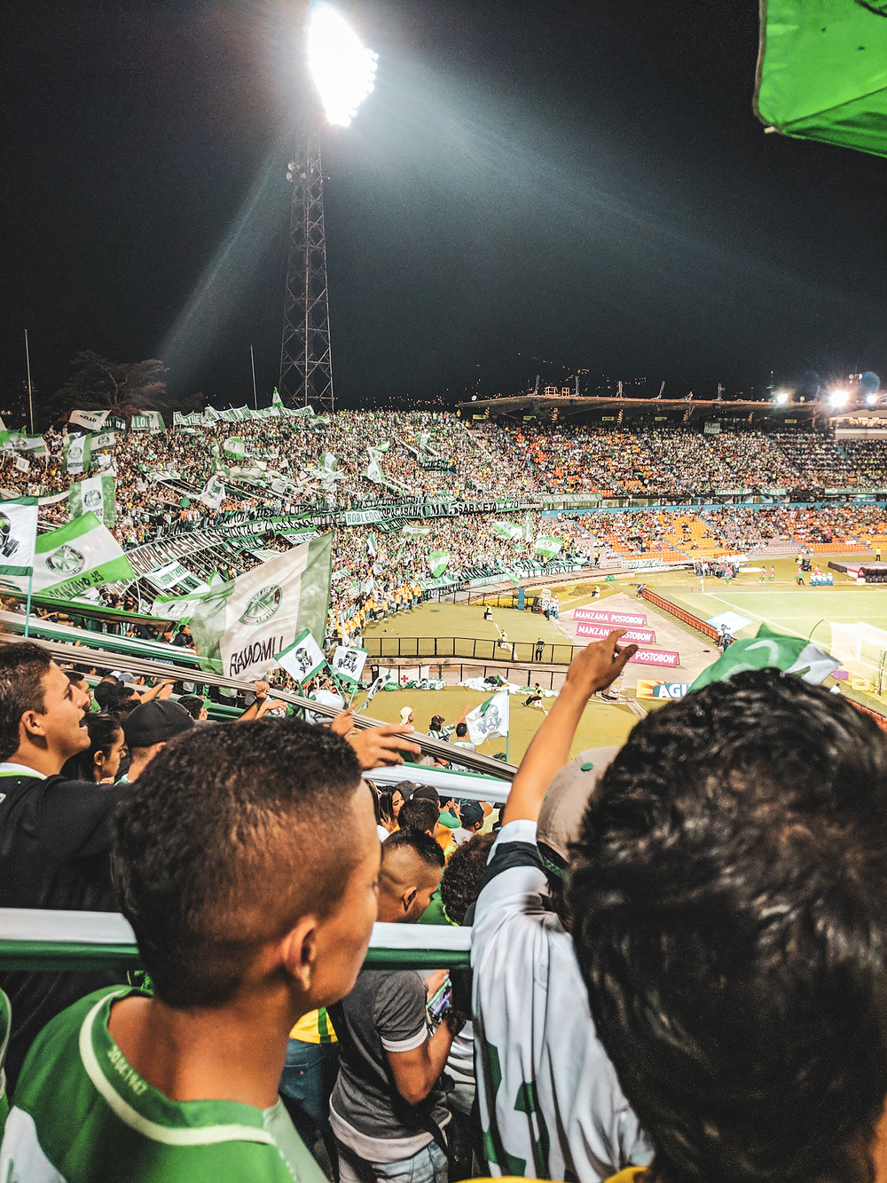 Sitting in the South section of an Atletico Nacional soccer game in Medellin, Colombia.