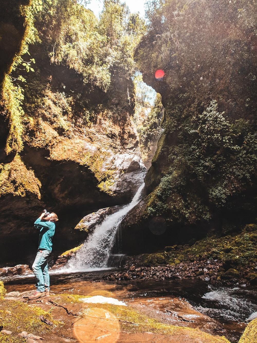 Taking photos of waterfalls in Jardin, Colombia.