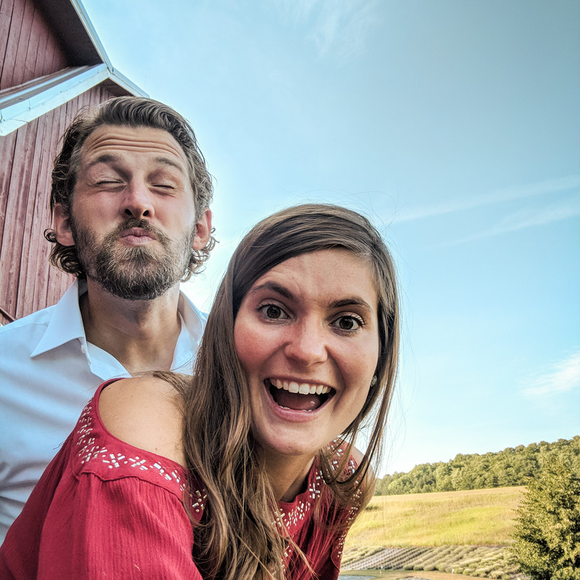 Steph and Scott from Each Day Slow celebrate a friend's wedding at Lavender Hill Farm in Petoskey, Michigan.