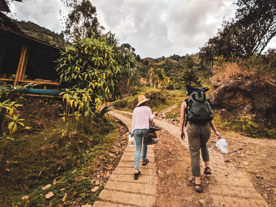Walking to the Chocolate House in the mountains near Jardin, Colombia.