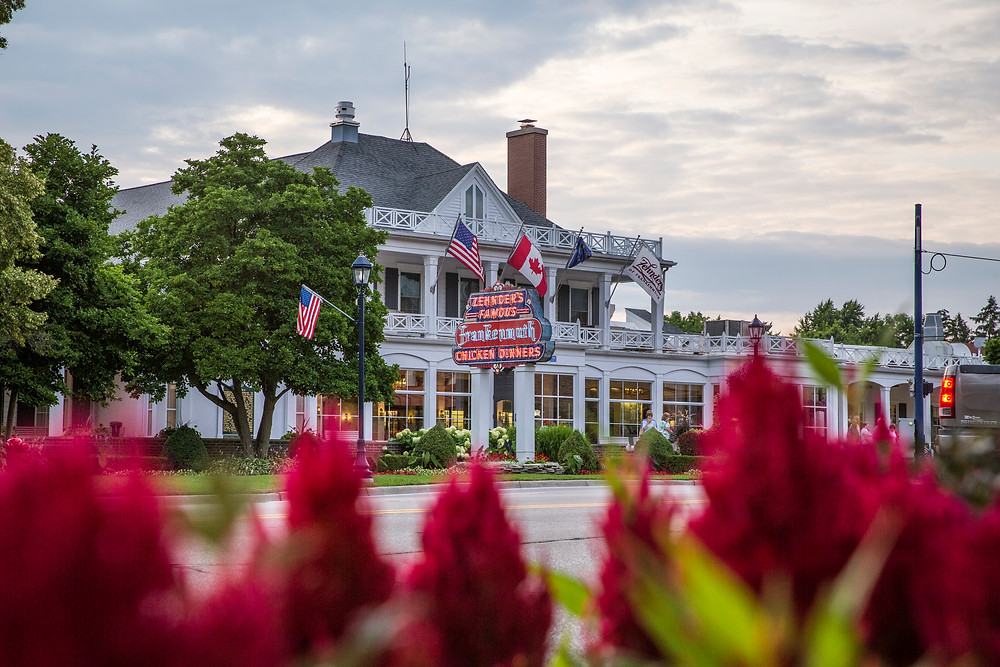 Outside of Zehnder's, home of the World Famous Chicken Dinners in Frankenmuth, Michigan.