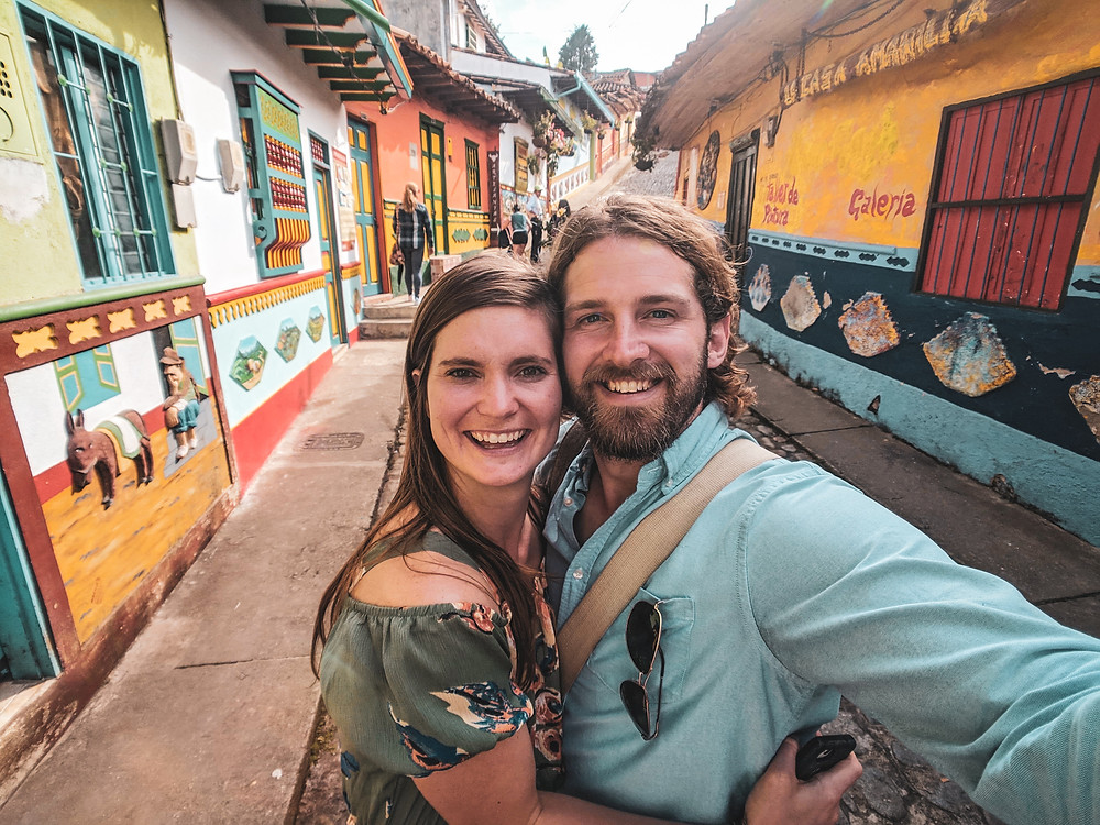 A selfie in the colorful streets of Guatapé, Colombia.