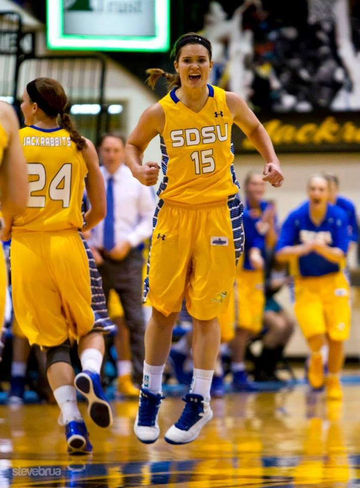 Steph from the Each Day Slow blog is excited after winning a basketball game with the SDSU Jackrabbits.
