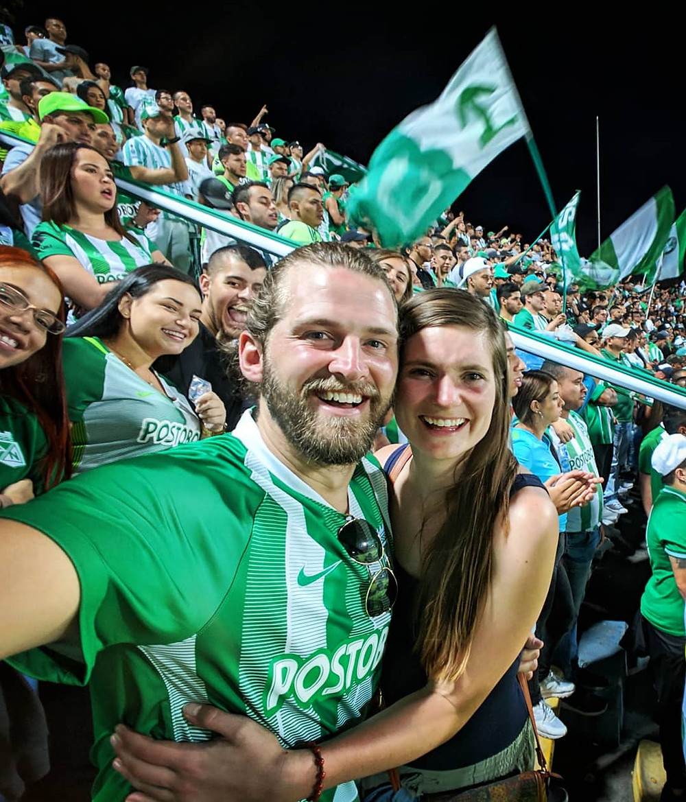 In the middle of the Comuna 13 section at an Atletico Nacional game in Medellin, Colombia.