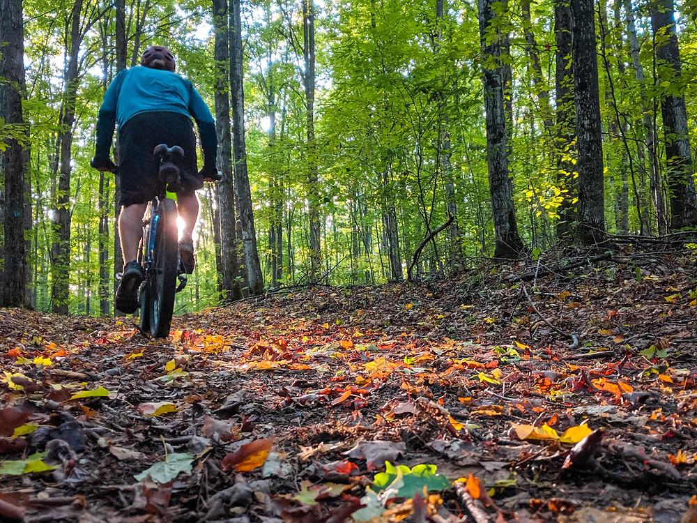Mountain biking through the Wildwood trails in Northern Michigan.