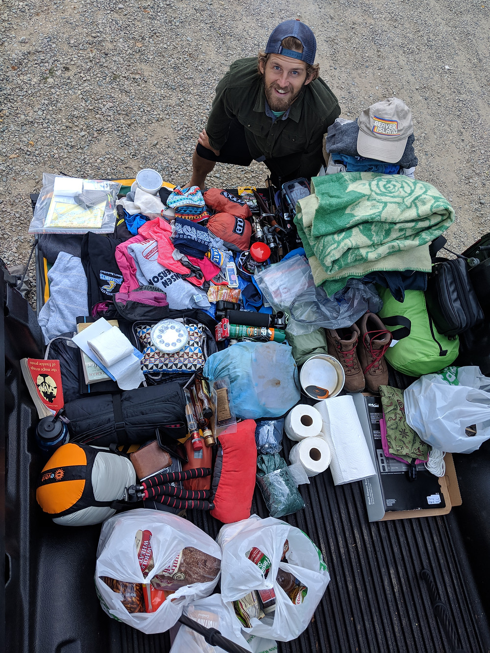 Scott with everything we packed for 5 days in the Boundary Waters