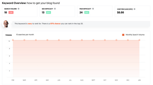 Example of keyword overview on Ubersuggest.