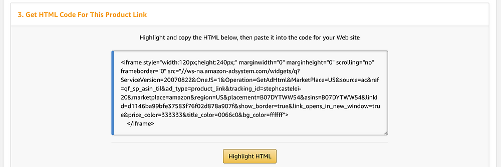 Highlight and copy unique HTML codes and links to begin using Amazon Affiliates in the Amazon Associates program.