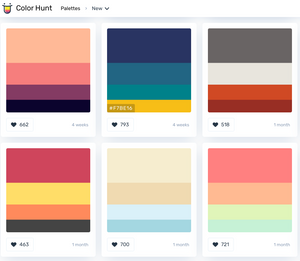 Color palette examples from color hunt while working on the Each Day Slow blog.
