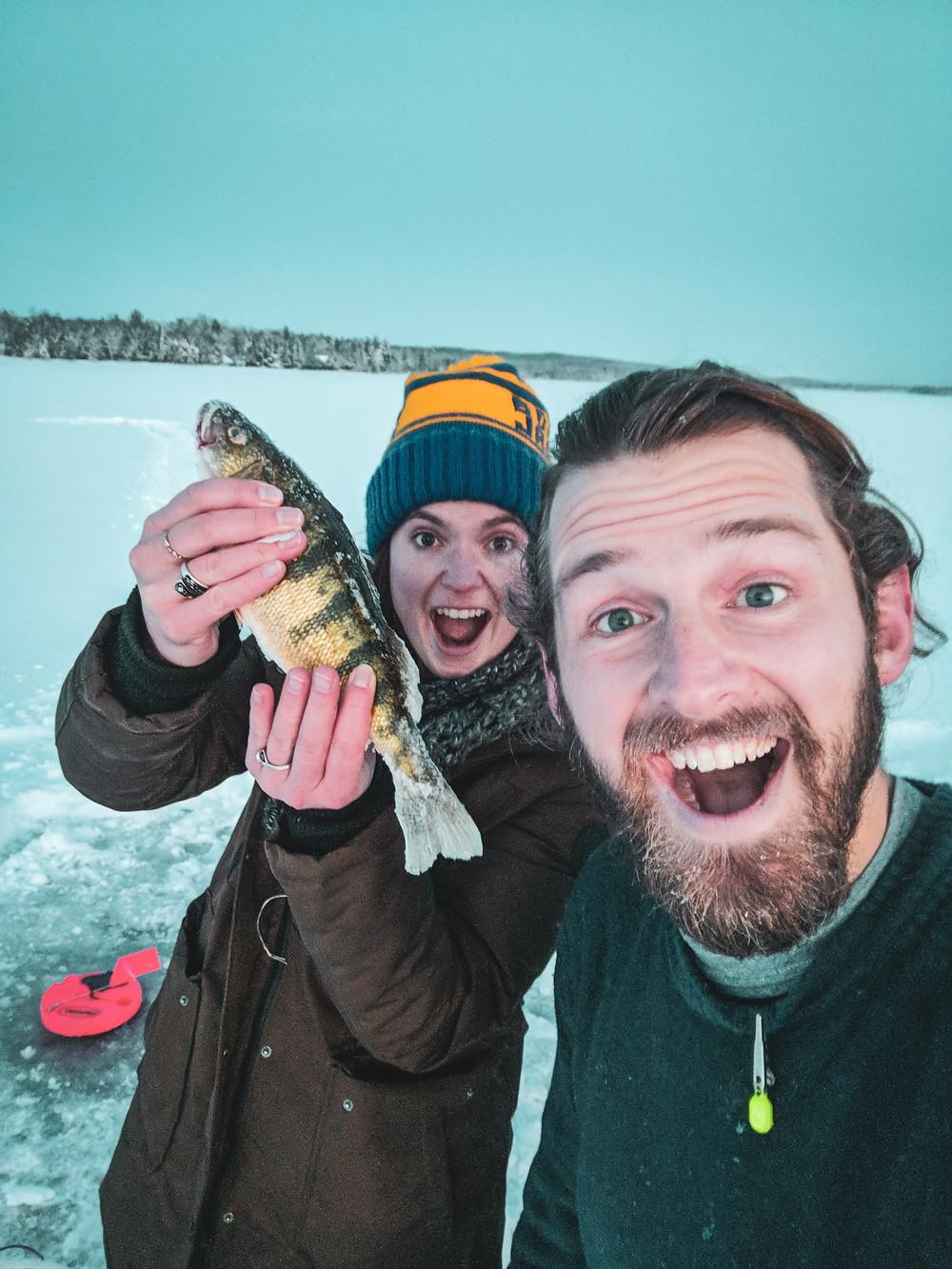 Ice fishing on Pickerel Lake in Northern  Michigan