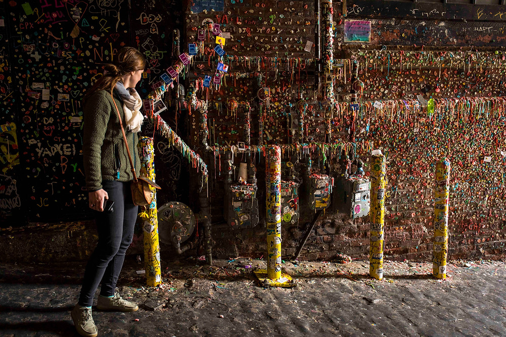 Gum wall at Pike Place Market in Seattle, Washington during our road trip to the PNW.