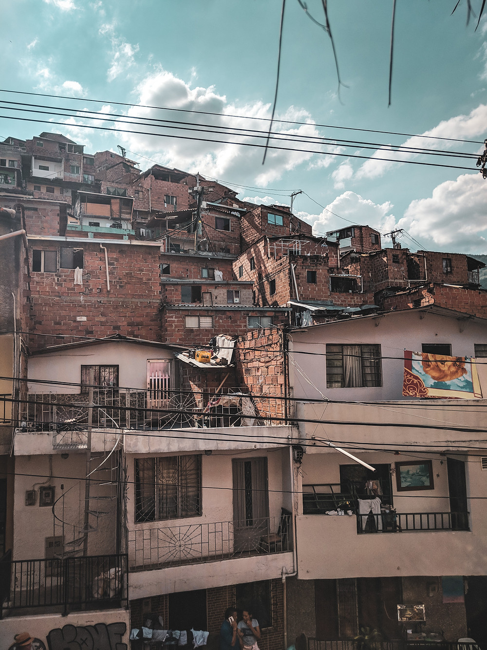 Buildings and houses in Comuna 13 in Medellín, Colombia.