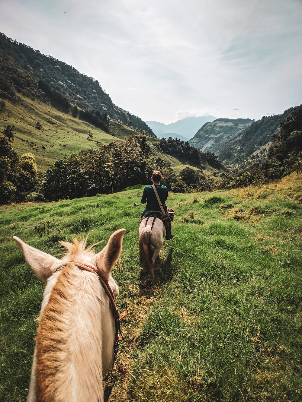 Epic mountain views while horseback riding in Jardin, Colombia.