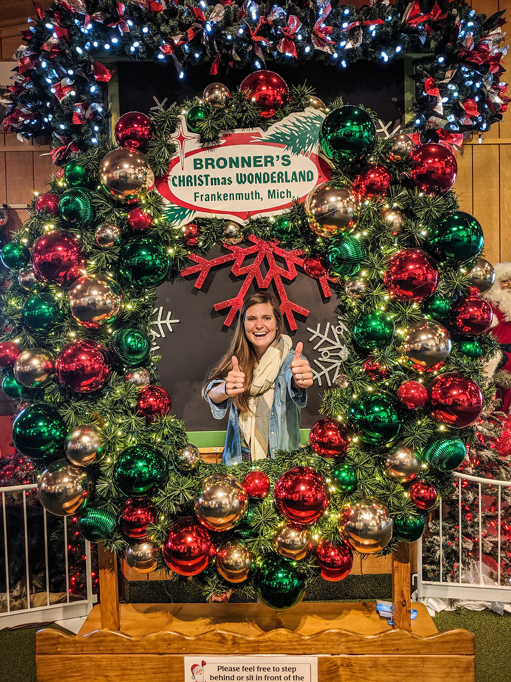 Steph from the Each Day Slow blog at Bronner's, the World's Largest Christmas Store in Frankenmuth, Michigan.