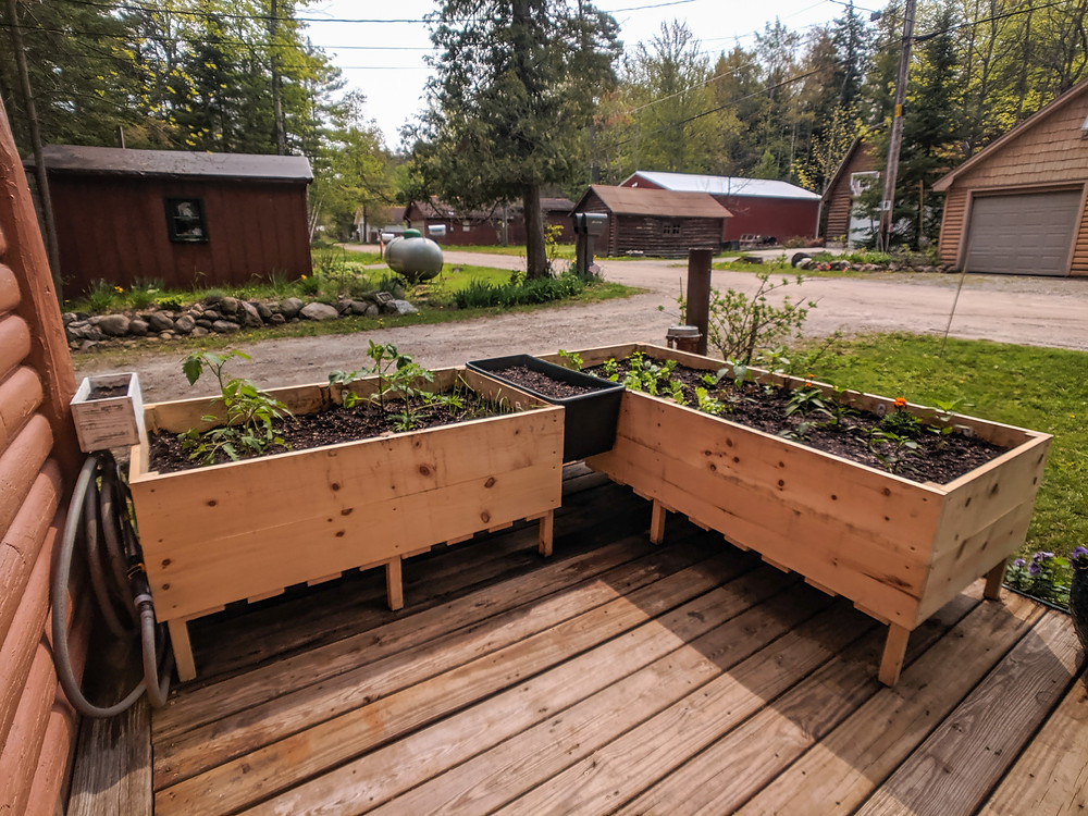 The completed DIY raised garden beds outside of our home in Northern Michigan
