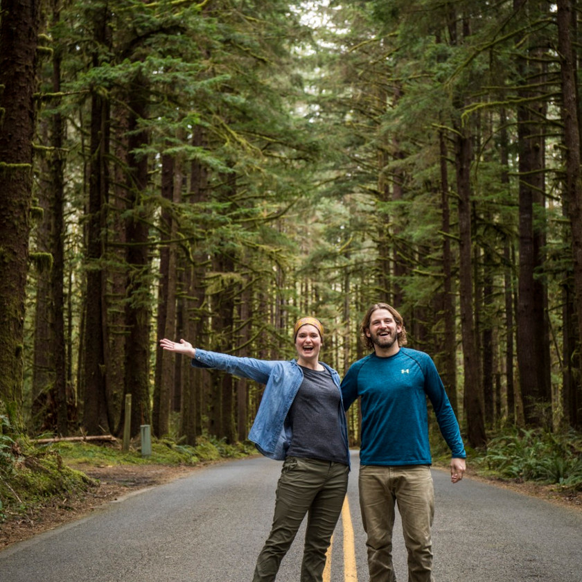 Steph and Scott from Each Day Slow on the road through Olympic National Park in Washington.