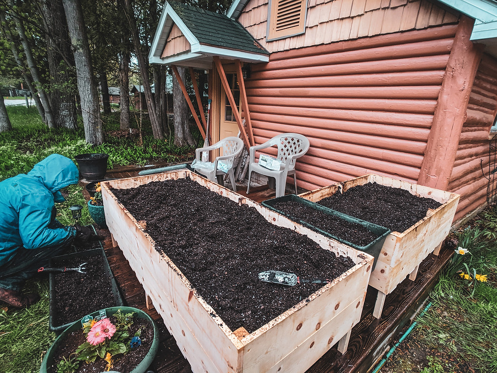 The completed DIY raised garden beds outside of our tiny cabin home in Northern Michigan. They were designed by Steph Castelein from the Each Day Slow blog.