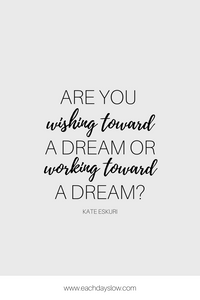 A blogging quote about working toward a dream to inspire others from Steph at the Each Days Slow blog.