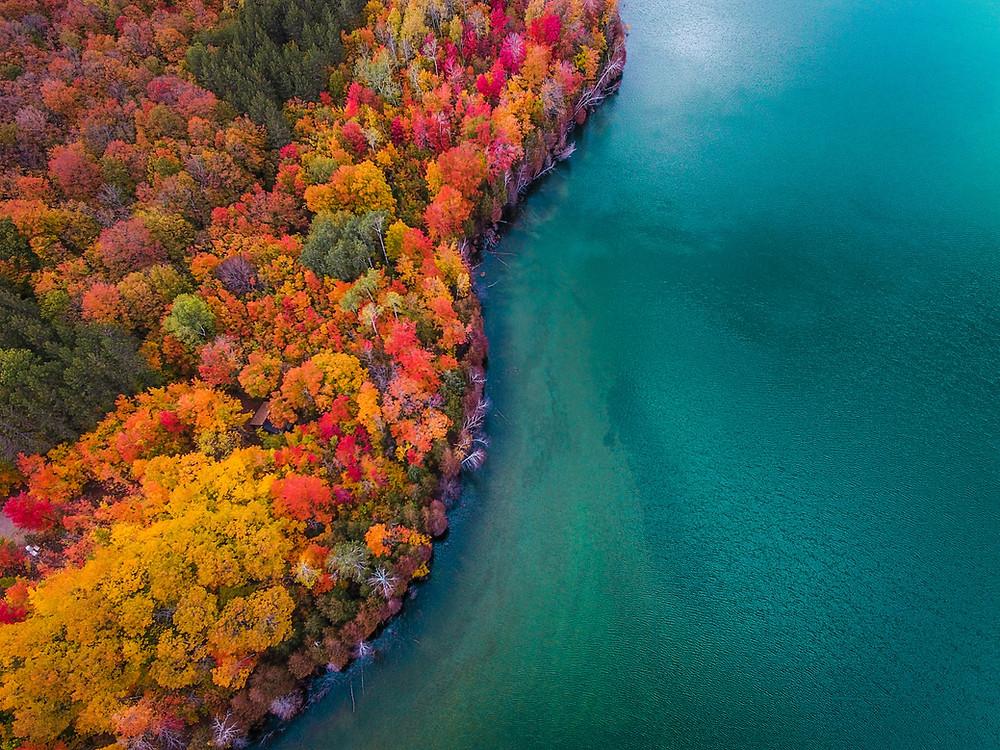 Fall colors on Thumb Lake, Michigan near the Petoskey Area.