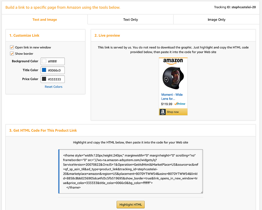 Build a link to a specific page using Amazon Affiliates in the Amazon Associates program.