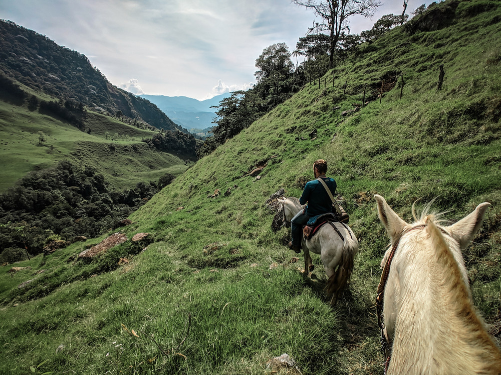 Mountain views while horseback riding in Jardin, Colombia.