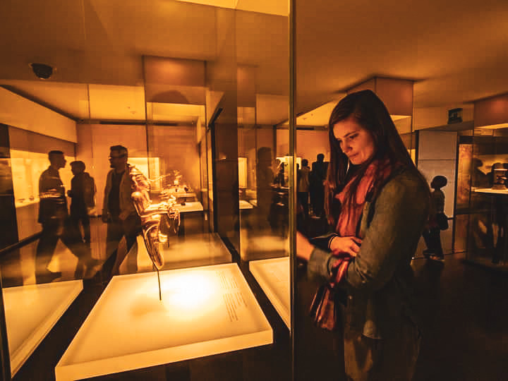 Steph observing a display at El Museo de Oro, The Museum of Gold in Bogota, Colombia.