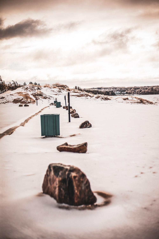 An image of rocks lining Lake Michigan.