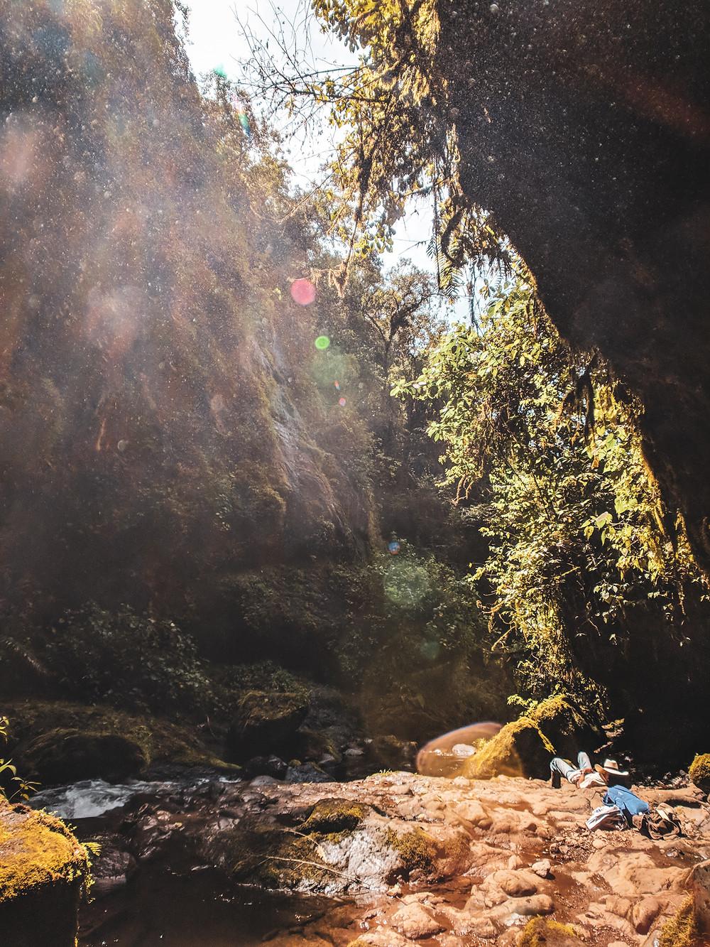 Sleeping near the waterfalls in Jardin, Colombia.
