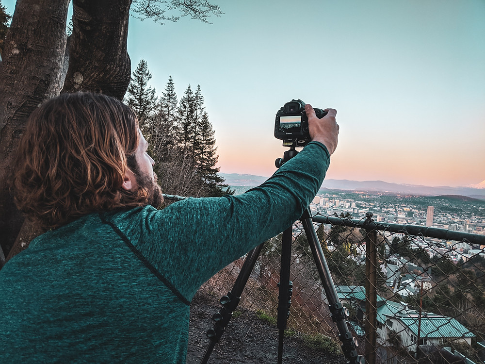 Taking photos of Portland from the Pittock Mansion in the PNW.