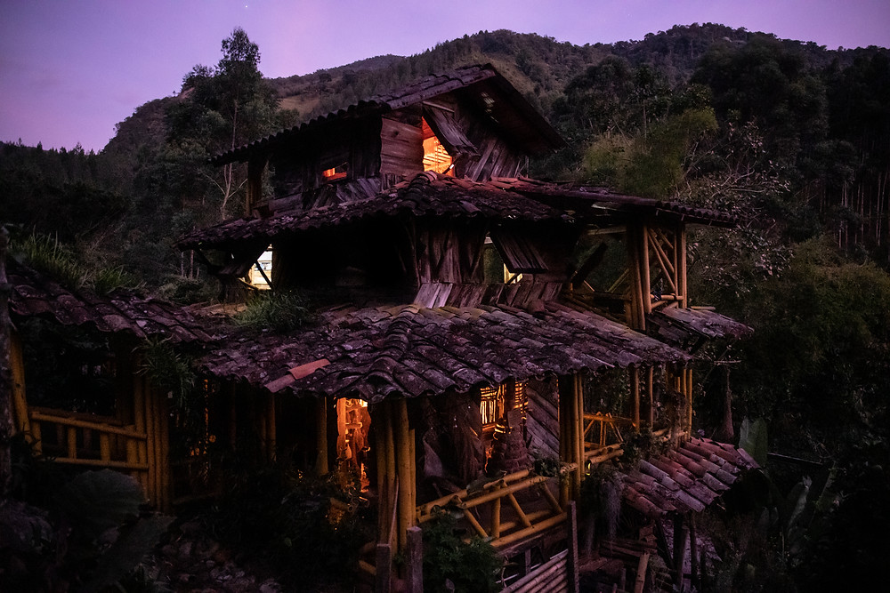 Our Airbnb lit up at night in Jardin, Colombia.
