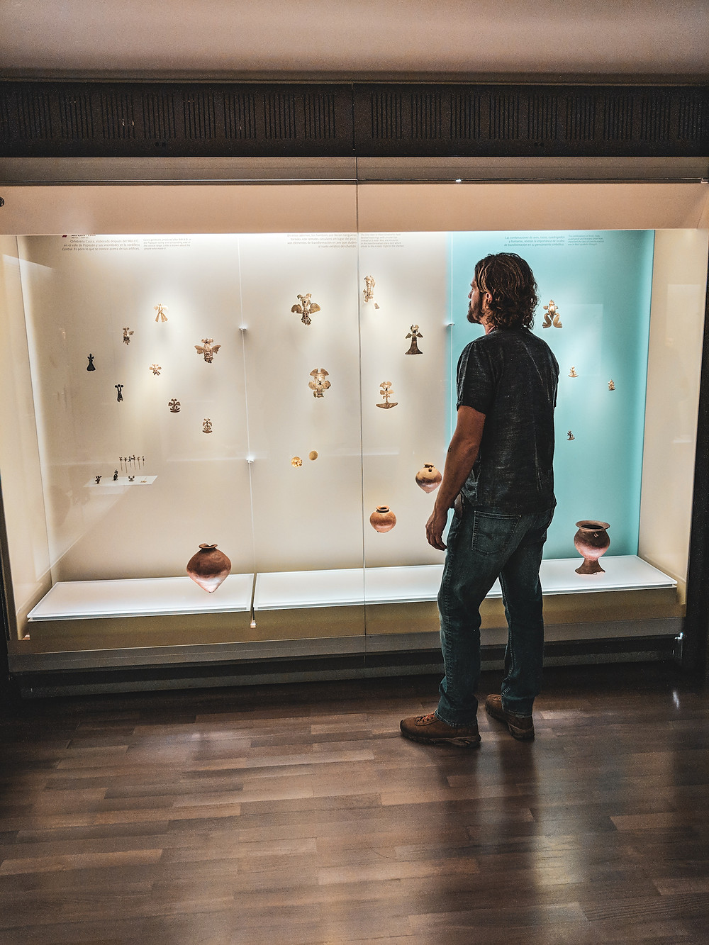 Scott admiring a display at El Museo de Oro, The Museum of Gold in Bogota, Colombia