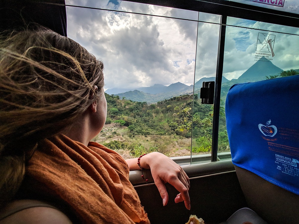 Traveling by bus in Colombia.