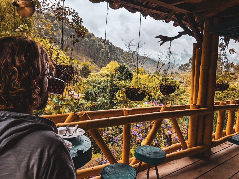 Eating breakfast in Jardin, Colombia.