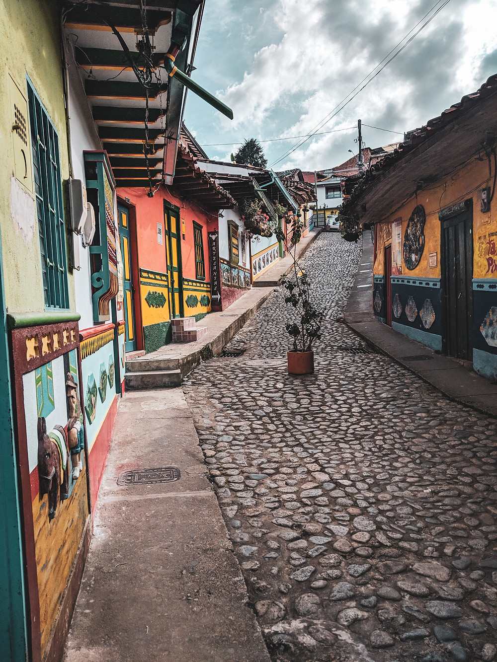 Colorful brick road in Guatapé, Colombia.