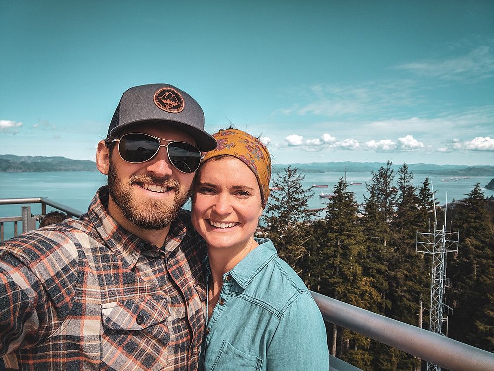 On top of the Astoria Column in Astoria, Oregon in the PNW.