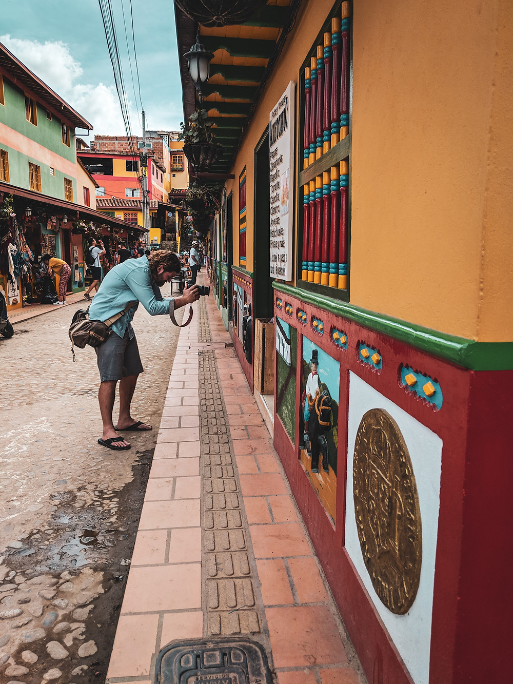 Scott doing street photography in Guatapé, Colombia.