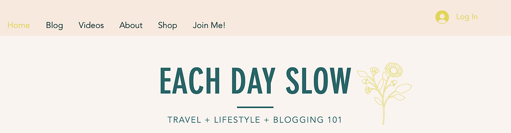 An example of the Each Day Slow blog homepage and color scheme.
