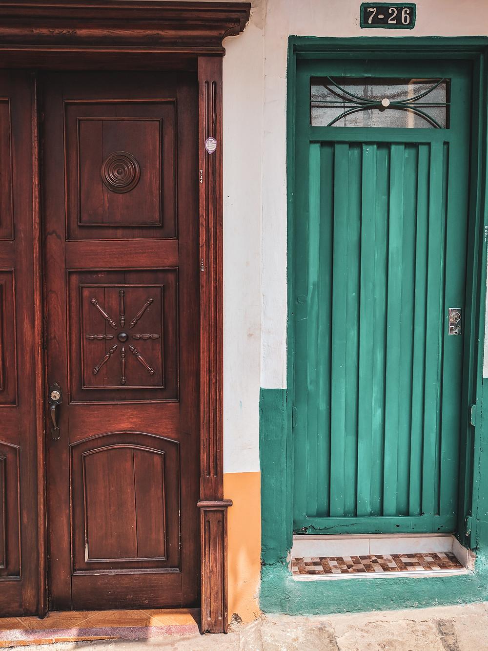 Colorful doorways in Jardin, Colombia.