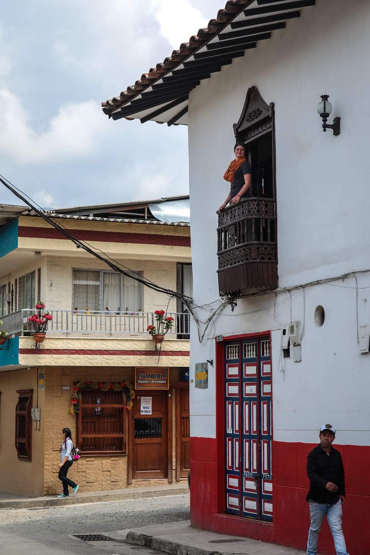 People watching in Jardin, Colombia.
