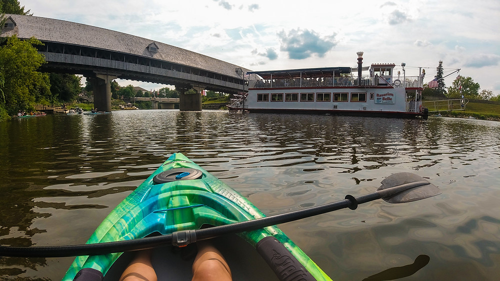 Kayaking the Cass River with Frankenmuth Kayak Adventures in Frankenmuth, Michigan.
