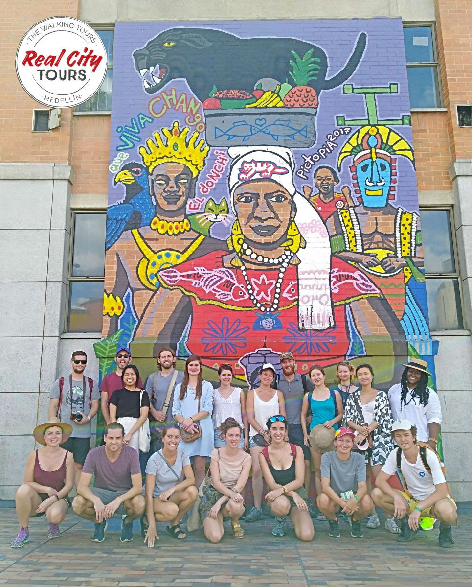 Real City free walking tour group photo in Medellín, Colombia.