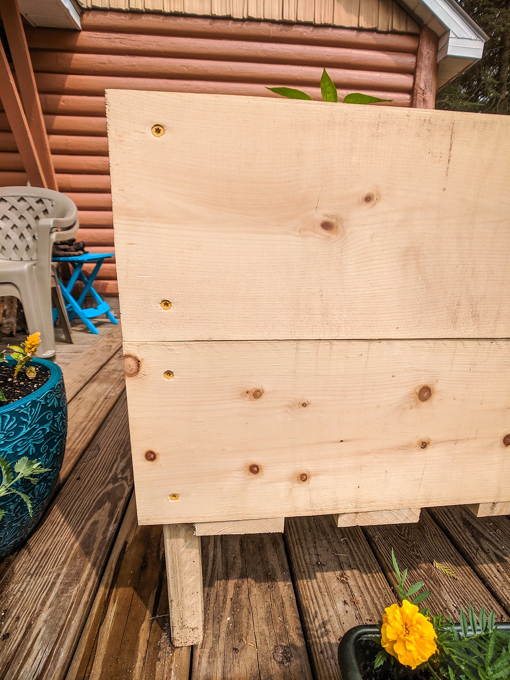 A close up of the DIY raised garden beds for a small space in Northern Michigan.