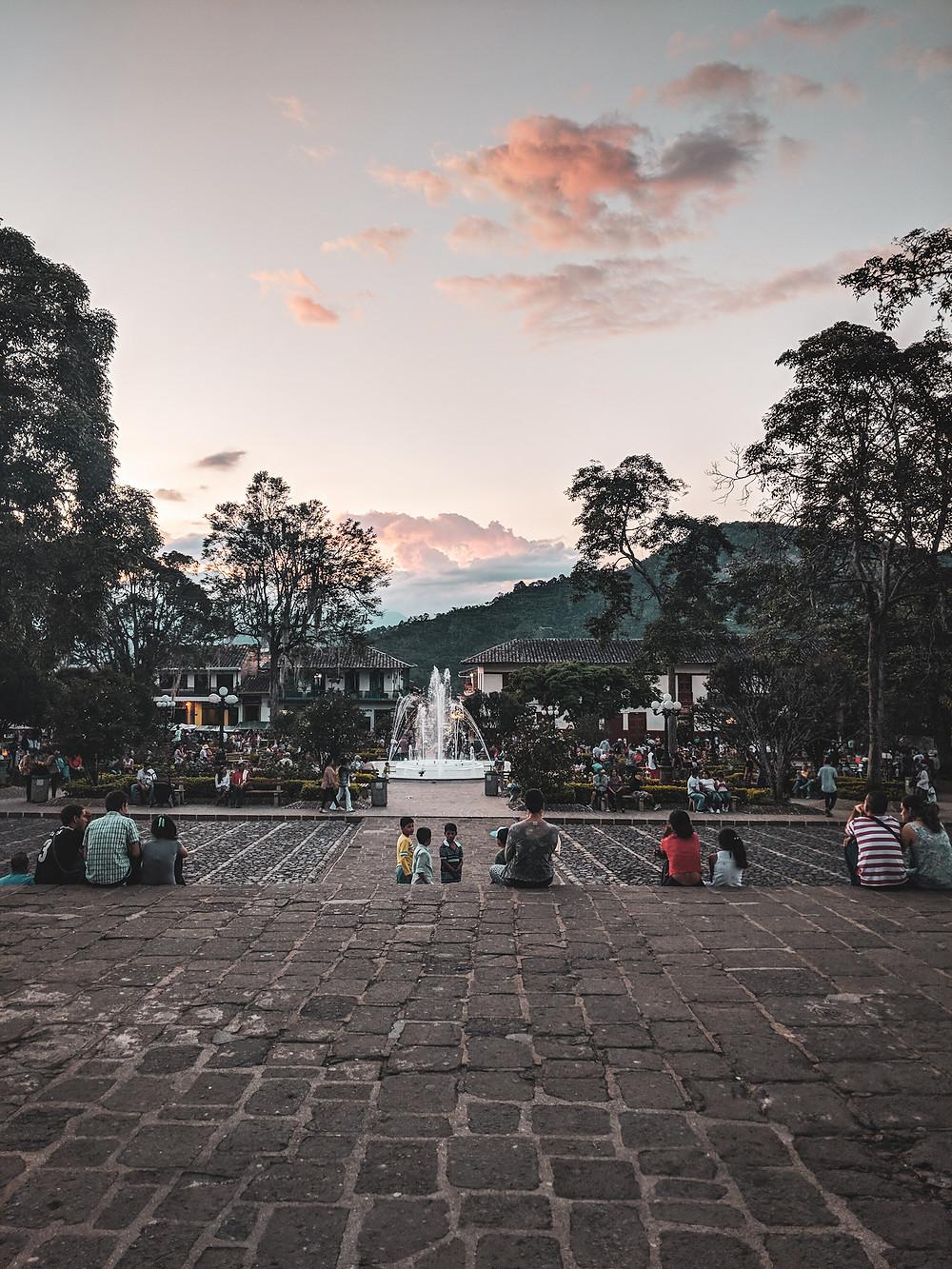 Main square in Jardin, Colombia.