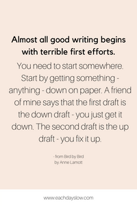 A blogging quote about writing first drafts to inspire others from Steph at the Each Days Slow blog.