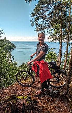 Steph at Mackinac Island with bicycle.jp