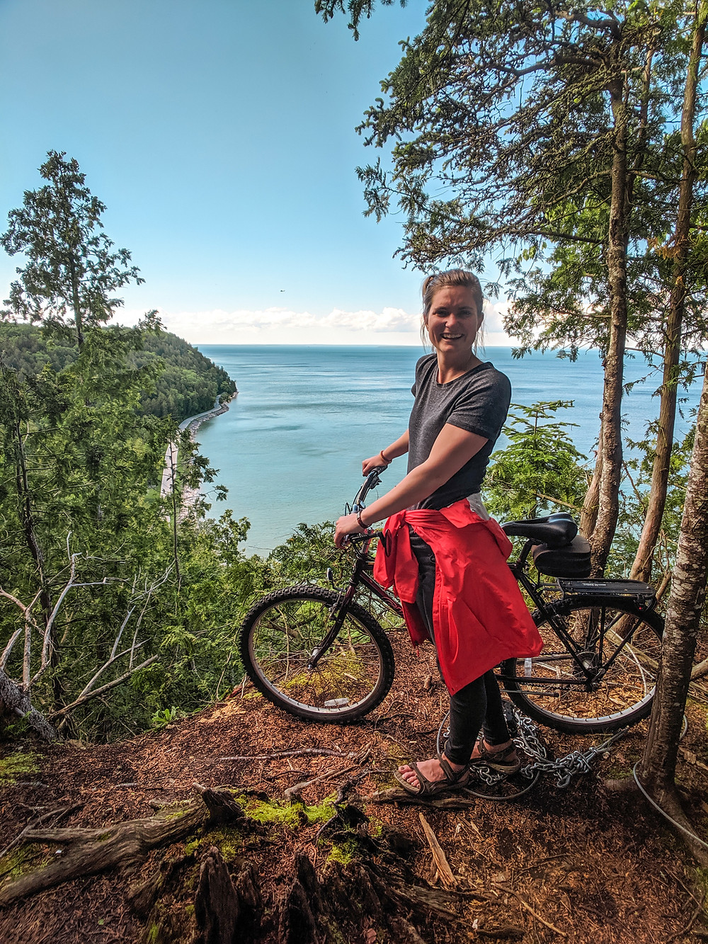 Steph from the Each Day Slow blog riding bicycle on Mackinac Island.