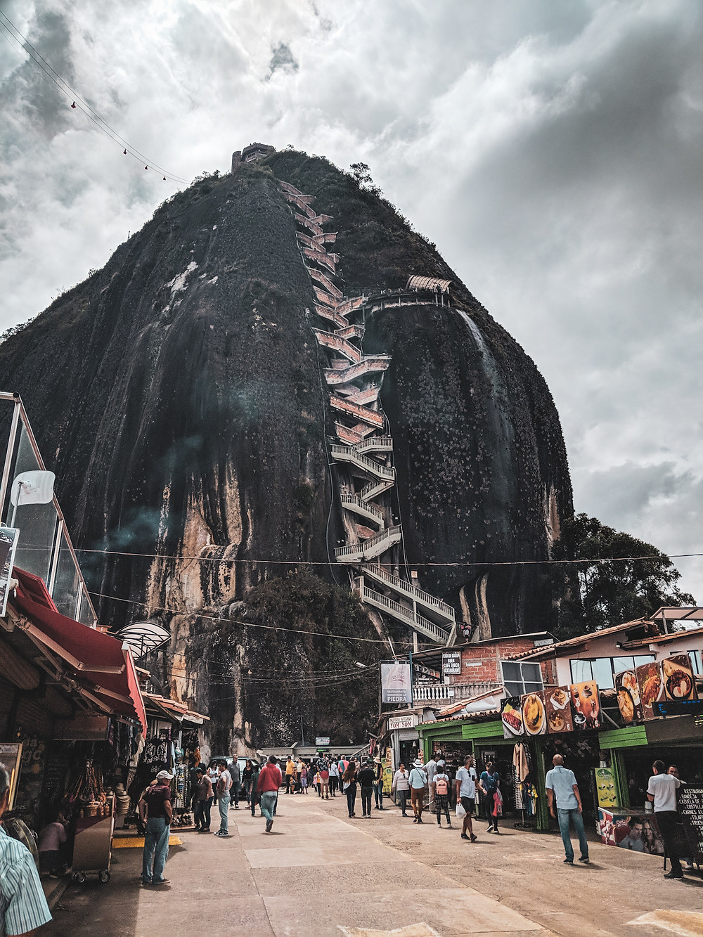 It takes more than 700 steps to reach the top of El Peñón near Guatapé, Colombia.