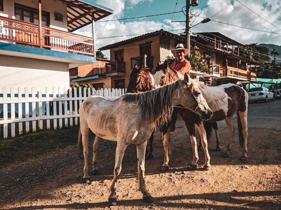 Horses in Jardin, Colombia.